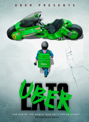 I saw an Akira meme of this once, so i drew an uber eats version of the Akira poster: I saw an Akira meme of this once, so i drew an uber eats version of the Akira poster