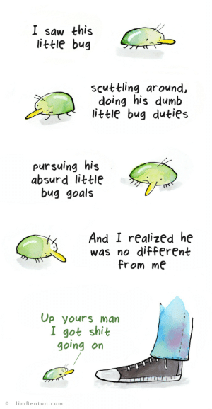 the little bug: I saw this  little bug  scuttling around,  doing his dumb  little bug duties  pursuing his  absurd little  bug goals  And I realized he  was no different  from me  Op yours man  I got shit  going on  JimBenton.com the little bug
