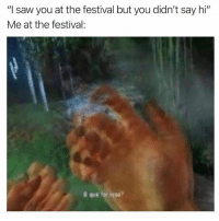 "Memes, Saw, and Where Am I: ""I saw you at the festival but you didn't say hi""  Me at the festival: Where am i @wooksdoingthings"