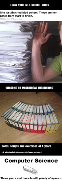 College, Saw, and School: I SAW YOUR MED SCHOOL NOTES  She just finished Med school. These are her  notes from start to finish.  18,985 points 745 comments  WELCOME TO MECHANICAL ENGINEERING:  notes, scripts and exercises of 4 years  [all printed on both sides, many with 2 pages per paper)  Computer Science  Three years and there is still plenty of space... epicjohndoe:  And Let The College Notes War Begin