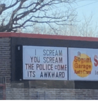 Funny, Police, and Scream: I SCREAM  YOU SCREAM Sogial  THE POLICE COME Garage  TS AWKWARD