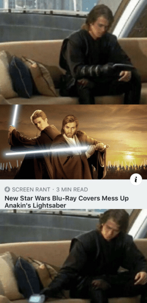 Lightsaber, Star Wars, and Covers: i  SCREEN RANT 3 MIN READ  New Star Wars Blu-Ray Covers Mess Up  Anakin's Lightsaber Disappointing As Sand