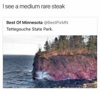 Funny, Memes, and Best: I see a medium rare steak  Best Of Minnesota @BestPixMN  Tettegouche State Park. @funny is a MUST follow!