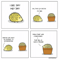I'm definitely Jim  By Shreya Doodles: I SEE JIM!  OH, THIS IS A CACTUS  MY BAD  クごー、C  PHEW! THAT WAS  A QUICK SAVE!  MARTHA WAS RIGHT  MY EYESIGHT IS  DETERIORATING  THAT BILL IS  SUCH A TALKER  REYA I'm definitely Jim  By Shreya Doodles