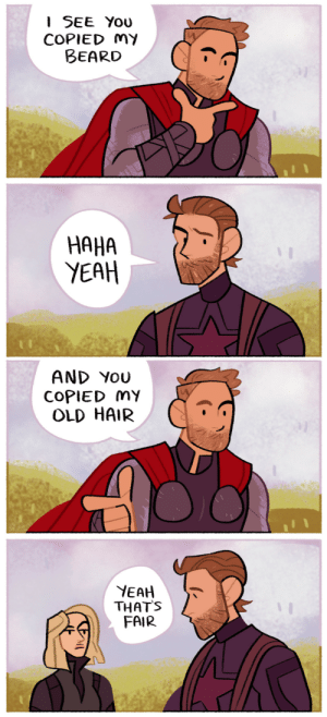 Beard, Instagram, and Target: I SEE You  COPIED MY  BEARD  HAHA  YEAH   AND YoU  COPIED mY  OLD HAIR  YEAH T  THATS  FAIR lousysharkbutt:  Thor Odinson: Style Icon™ patreon | twitter | instagram