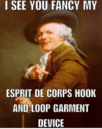 Fancy: I SEE YOU FANCY MY  ESPRIT DE CORPS HOOK  AND LOOP GARMENT  DEVICE