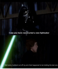 Ah yes, now I remember...: I see you have constructed a new lightsaber  Well some fucktard cut off my arm that happened to be holding the last one Ah yes, now I remember...
