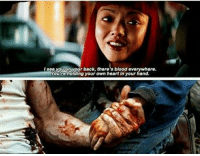 Spoiler alert!: I see you on your back, there's blood everywhere.  Youre holding your own heart in your hand. Spoiler alert!