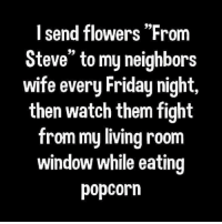 """roflcopter: I send flowers """"From  Steve"""" to my neighbors  wife every Friday night,  then watch them fight  from my living room  window while eating  popcorn"""