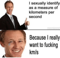 Relatable today: I sexually identify  as a measure of  kilometers per  second  Because I really  want to fucking  km/s Relatable today