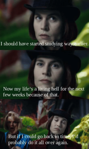 Follow us @studentlifeproblems: I should have started studying way earlier  Now my life's a living hell for the next  few weeks because of that.  But if I could go back in time, I'd  probably do it all over again. Follow us @studentlifeproblems