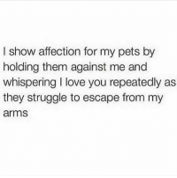Love, Memes, and Struggle: I show affection for my pets by  holding them against me and  whispering love you repeatedly as  they struggle to escape from my  arms Me