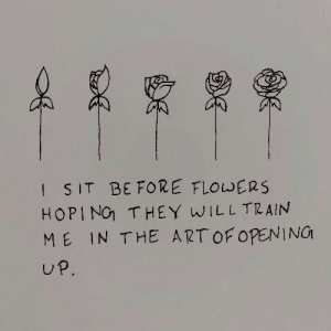 I Sit: I SIT BE FORE FLOWERS  HOPIN THEY WILL TRAIN  ME IN THE ARTOF OPEN NG  UP.