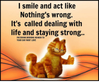 Memes, 🤖, and Stay Strong: I smile and act like  Nothing's wrong.  It's called dealing with  life and staying strong  YOUR DAY WIHT LOVE