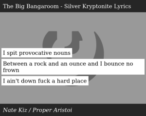 Nate Kiz-The Big Bangaroom - Silver Kryptonite