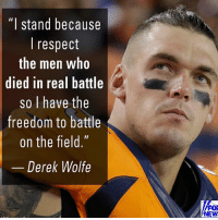 """America, Memes, and Respect: """"I stand because  I respect  the men who  died in real battle  so l have the  freedom to battle  on the field  Derek Wolfe  FOX  NEW Such a patriot🇺🇸🇺🇸 liberal maga conservative constitution like follow presidenttrump resist stupidliberals merica america stupiddemocrats donaldtrump trump2016 patriot trump yeeyee presidentdonaldtrump draintheswamp makeamericagreatagain trumptrain triggered Partners --------------------- @too_savage_for_democrats🐍 @raised_right_🐘 @conservativemovement🎯 @millennial_republicans🇺🇸 @conservative.nation1776😎 @floridaconservatives🌴"""