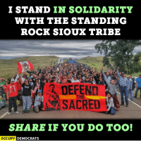 "Concussion, Memes, and Image: I STAND IN SOLIDARITY  WITH THE STANDING  ROCK SIOUX TRIBE  SACRED  SHARE IF YOU DO TOO!  OCCUPY DEMOCRATS ""Today we have witnessed people praying in peace, yet attacked with pepper spray, rubber bullets, sound and concussion cannons... This is about our water, our rights, and our dignity as human beings.""  Read more here: http://bit.ly/2eDSUAi Image by Occupy Democrats."