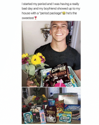 "Bad, Bad Day, and My House: I started my period and I was having a really  bad day and my boyfriend showed up to my  house with a ""period package"" he's the  sweetest  AKIE  COOKIE  YER  HERSHEYS  HER  en  . :HERSHEYS  rayo1의  5 STICKS  extra  34 ⠀"