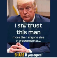 Trump, Washington Dc, and Washington: I still trust  this man  more than anyone else  in Washington DC.  SHARE if you agree! Do you still trust President Trump?