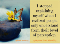Memes, Perception, and Understanding: I stopped  explaining  myself when I  t realized people  only understand  from their level  of perception  com/ roorl k20  my own kittle worl Do