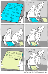 Goals, Life, and Comics: I Suck at  BiG LIFE GOALS  CLIMB MOUNT  EVEREST  GET ROCK HARD  A85  I'm doin  rea  8IG LIFE GOALS  0  乀Yea  GET OUT OF  BE D  0  ου  are  www.lunarbaboon.com aim