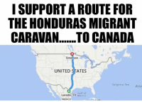 (GC): I SUPPORT A ROUTE FOR  THE HONDURAS MIGRANT  Emerson  UNITED STATES  Sargasso Sea  Atla  Laredo, TX Mexico  TYGulf of  MEXICO (GC)