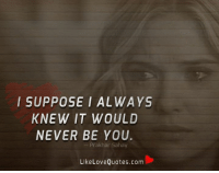 I SUPPOSE I ALWAYS  KNEW IT WOULD  NEVER BE YOU  Prakhar Sahay  Like Love Quotes.com I suppose I always knew it would never be you.