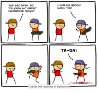 Memes, Skateboarding, and 🤖: I SURE DO, BRODO!  'SUP, BRO DAWG. DO  WATCH THIS  YOU KNOW ANY GNARLY  SKATEBOARD TRICKS?  TA DA!  Cyanide and Happiness O Explosm.net Radical, Bro!