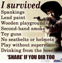 Drinking, Guns, and Millennials: I survived  Spankings  Lead paint  Wooden playgrounds  Second-hand smo.k  Toy guns  No seatbelts or helmets  Play without supervision  Drinking from the hose  'SHARE IF YOU DID TO0  HORN  THE