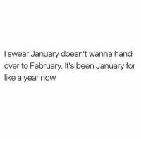 Twitter, Girl Memes, and Been: I swear January doesn't wanna hand  over to February. It's been January for  like a year now Please make it stop. (Twitter: ReklessManu)