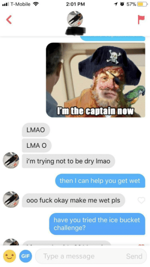 is this not what she meant?: I T-Mobile  2:01 PM  'm the captain nOW  LMAO  LMA O  i'm trying not to be dry Imao  then I can help you get wet  ooo fuck okay make me wet pls  have you tried the ice bucket  challenge?  GIF  Type a message  Send is this not what she meant?