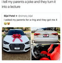 That ring caption is hella clever tho: i tell my parents a joke and they turn it  into a lecture  Bijal Patel ★ @simply.b.jal  I asked my parents for a ring and they got me 4  332 That ring caption is hella clever tho