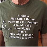 Memes, Money, and 🤖: I think a  Man with a Helmet  Defending our Country  should make  More Money  than a  Man with a Helmel  Defending a Footbal