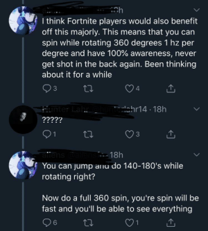 Some unique analysis of the new 360hz monitor.: I think Fortnite players would also benefit  off this majorly. This means that you can  spin while rotating 360 degrees 1 hz per  degree and have 100% awareness, never  get shot in the back again. Been thinking  about it for a while  3  4  Hunter Lahr ohunterlahr14 - 18h  ?????  27  3  1  allens ali  You can jump anu do 140-180's while  rotating right?  - 18h  Now do a full 360 spin, you're spin will be  fast and you'll be able to see everything  6. Some unique analysis of the new 360hz monitor.