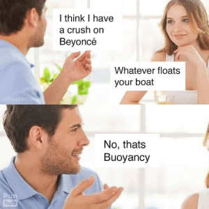 Word play is the best foreplay.: I think I have  a crush on  Beyoncé  Whatever floats  your boat  @PunHubOnline  No, thats  Buoyancy  Pun  hub Word play is the best foreplay.