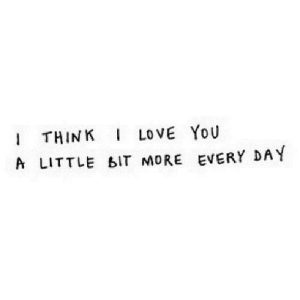 https://iglovequotes.net/: I THINK I LOVE YOU  A LITTLE BIT MORE EVERY DAY https://iglovequotes.net/