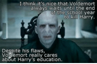 its nice that: I think it's nice that Voldemort  always Waits until the end  of the school year  to kil Harry  Despite his flaws,  Voldemort really cares  about Harry's education.