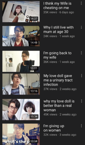 Cheating, Love, and Live: I think my Wife is  cheating on me  Grwwao  35K views 6 days ago  14:37  Why I still live with  mum at age 30  24K views 1 week ago  14:48  I'm going back to  my wife  36K views 1 week ago  13:01  My love doll gave  urinary tract  infection  37K views 2 weeks ago  me a  13:16  why my love doll is  better than a real  woman  45K views 2 weeks ago  15:34  I'm giving up  on women  32K views 3 weeks ago  what's the 13:34 A tragic story