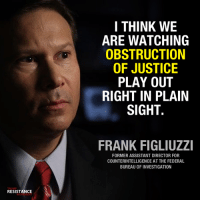 Memes, Justice, and Trump: I THINK WE  ARE WATCHING  OBSTRUCTION  OF JUSTICE  PLAY OUT  RIGHT IN PLAIN  SIGHT.  FRANK FIGLIUZZI  FORMER ASSISTANT DIRECTOR FOR  COUNTERINTELLIGENCE AT THE FEDERAL  BUREAU OF INVESTIGATION  TRUMP  RESISTANCE  MOVEMENT We can't say we were not warned.