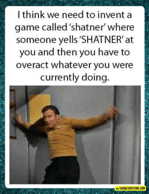 The Shatner Gamehttp://advice-animal.tumblr.com/: I think we need to invent a  game called 'shatner' where  someone yells 'SHATNER' at  you and then you have to  overact whatever you were  currently doing.  VIA THEMETAPICTURE.COM The Shatner Gamehttp://advice-animal.tumblr.com/