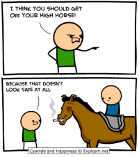 Amazon, Dank, and amazon.com: I THINK YOU SHOULD GET  OFF YOUR HIGH HORSE!  BECAUSE THAT DOESN'T  LOOK SAFE AT ALL  Cyanide and Happiness © Explosm.net Check out the new Cyanide & Happiness Parenting Guide here: https://www.amazon.com/Cyanide-Happiness-Guide-Parenting-Three/dp/1684150027