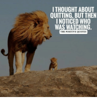 positive quotes: I THOUGHT ABOUT  QUITTING, BUT THEN  I NOTICED WHO  WAS WATCHING.  THE POSITIVE QUOTES