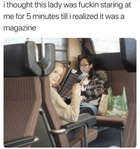Memes, Thought, and 🤖: i thought this lady was fuckin staring at  me for 5 minutes till i realized it was a  magazine 😂 https://t.co/iT9MfCJaAL
