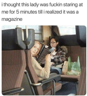 Hhahaha Seriously I didnt recognize on first look..: i thought this lady was fuckin staring at  me for 5 minutes till i realized it was a  magazine Hhahaha Seriously I didnt recognize on first look..