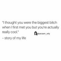 "⠀: ""I thought you were the biggest bitch  when I first met you but you're actually  really cool.""  @sarcasm only  story of my life ⠀"
