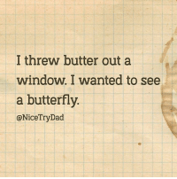 Dad, Memes, and Butterfly: I threw butter out a  window. I wanted to see  a butterfly.  @NiceTryDad Dad joke of the year. credit: @NiceTryDad