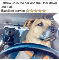 Memes, Uber, and Good: I threw up in the car and the Uber driver  ate it all.  Excellent service  ★★★★★ @dsjoedeux (via @theworldpolice) very good boy