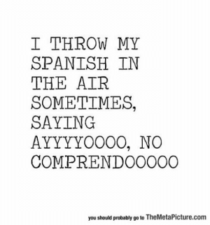 srsfunny:  My Spanish In The Air: I THROW MY  SPANISH IN  THE AIR  SOMETIMES,  SAYING  AYYYYOO0O, NO  COMPRENDO0000  you should probably go to TheMetaPicture.com srsfunny:  My Spanish In The Air