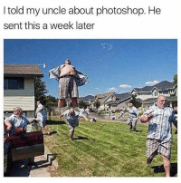 Memes, 🤖, and Funniest: I told my uncle about photoshop. He  sent this a week later @_theblessedone posts the funniest memes