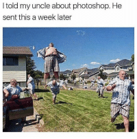 Instagram, Memes, and Photoshop: I told my uncle about photoshop. He  sent this a week later If you're not following @pubity you might as well delete instagram 😂
